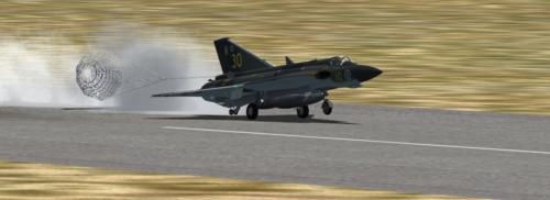 Landing with brake chute
